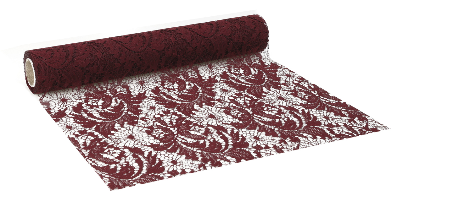 Florence Lace Table Runner/banner In Burgundy/anthracite/pink