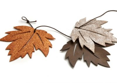 Wood glitter leaves