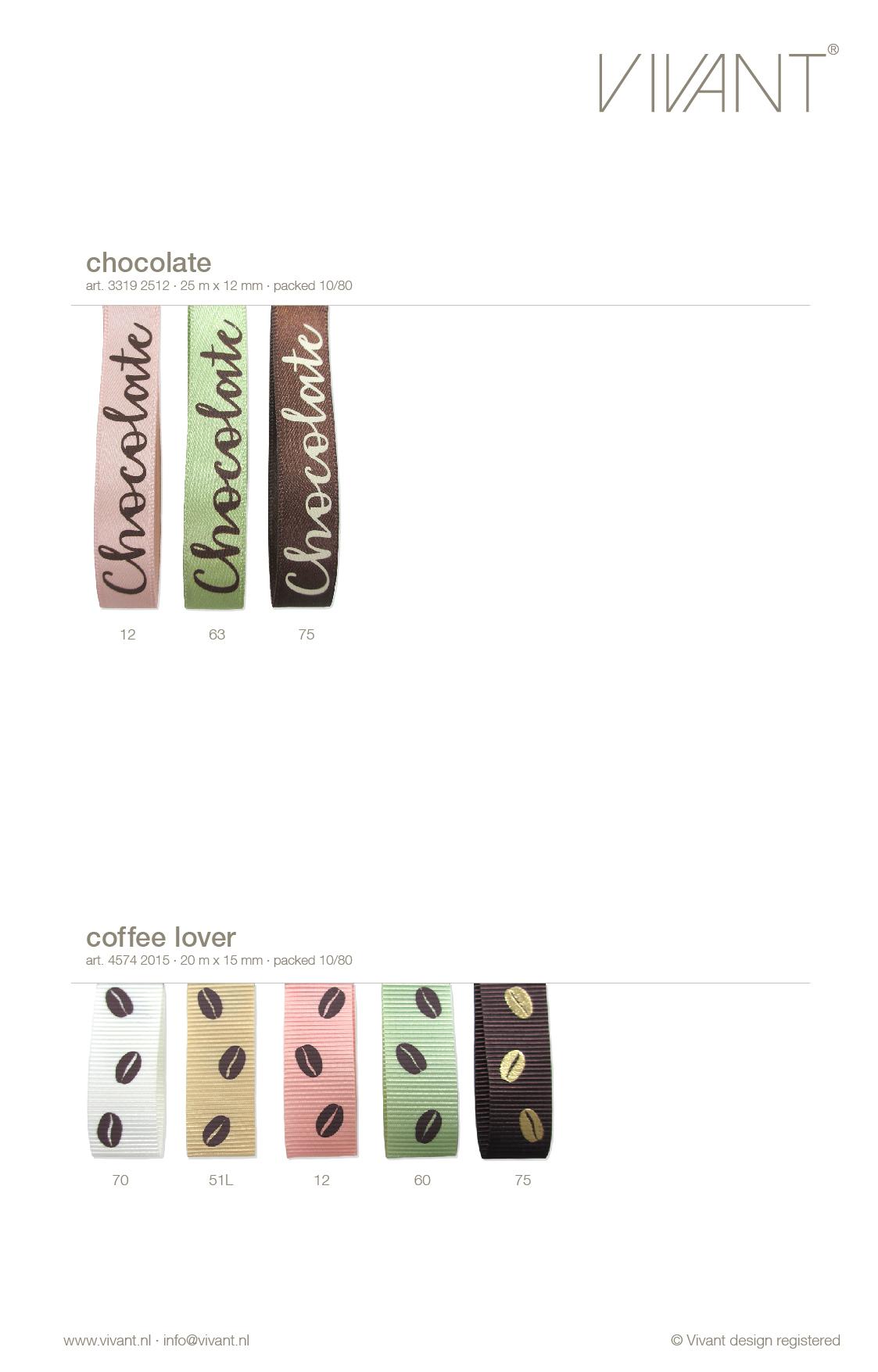chocolate lint van satijn met tekst print in chocoladeletters 3 kleuren, in 12 mm voor cosmetica verpakkingen, inpakken en decoreren.