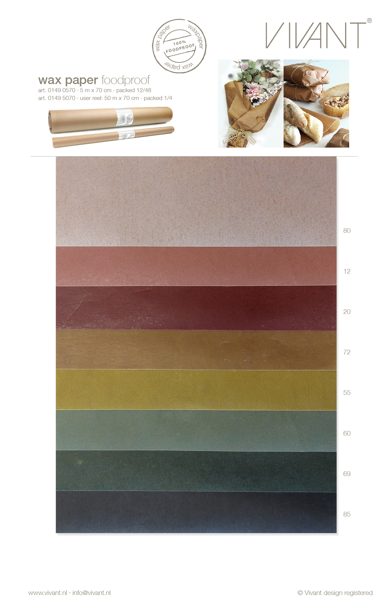 Wax paper as foodproof wrapping paper or flower paper with waterrepellent coating in 7 colors in 50 mtr and 5 mtr reels.
