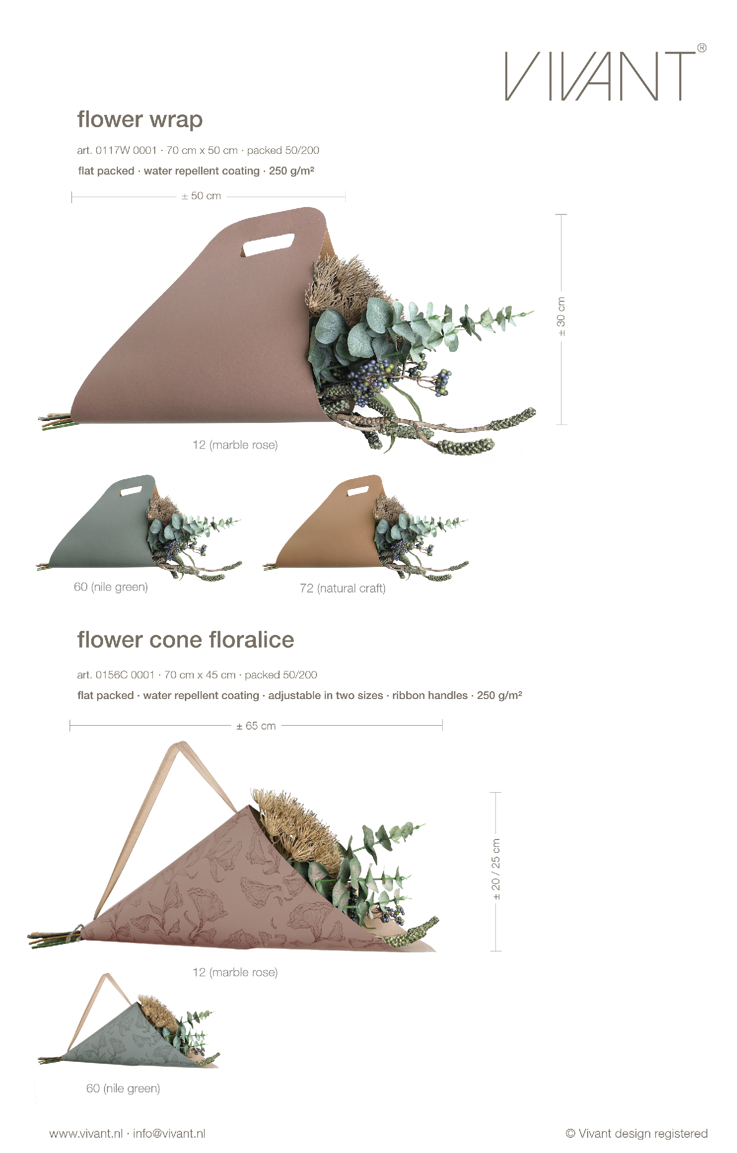 Floralice flower cone as floral flowerbag with carrying ribbon in rose or green