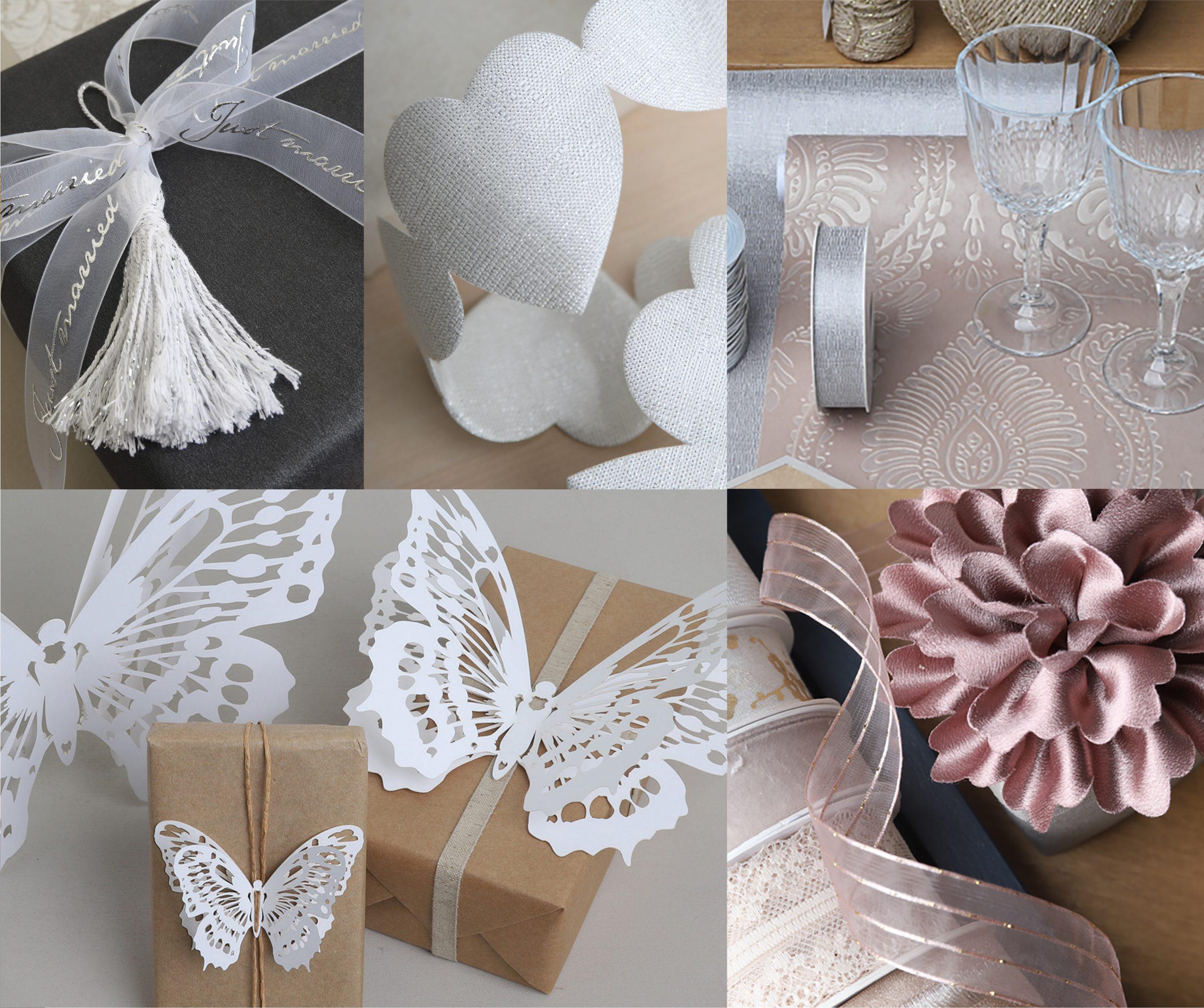 Bruiloftsdecoratie en huwelijkslinten, slingers en tafelversiering