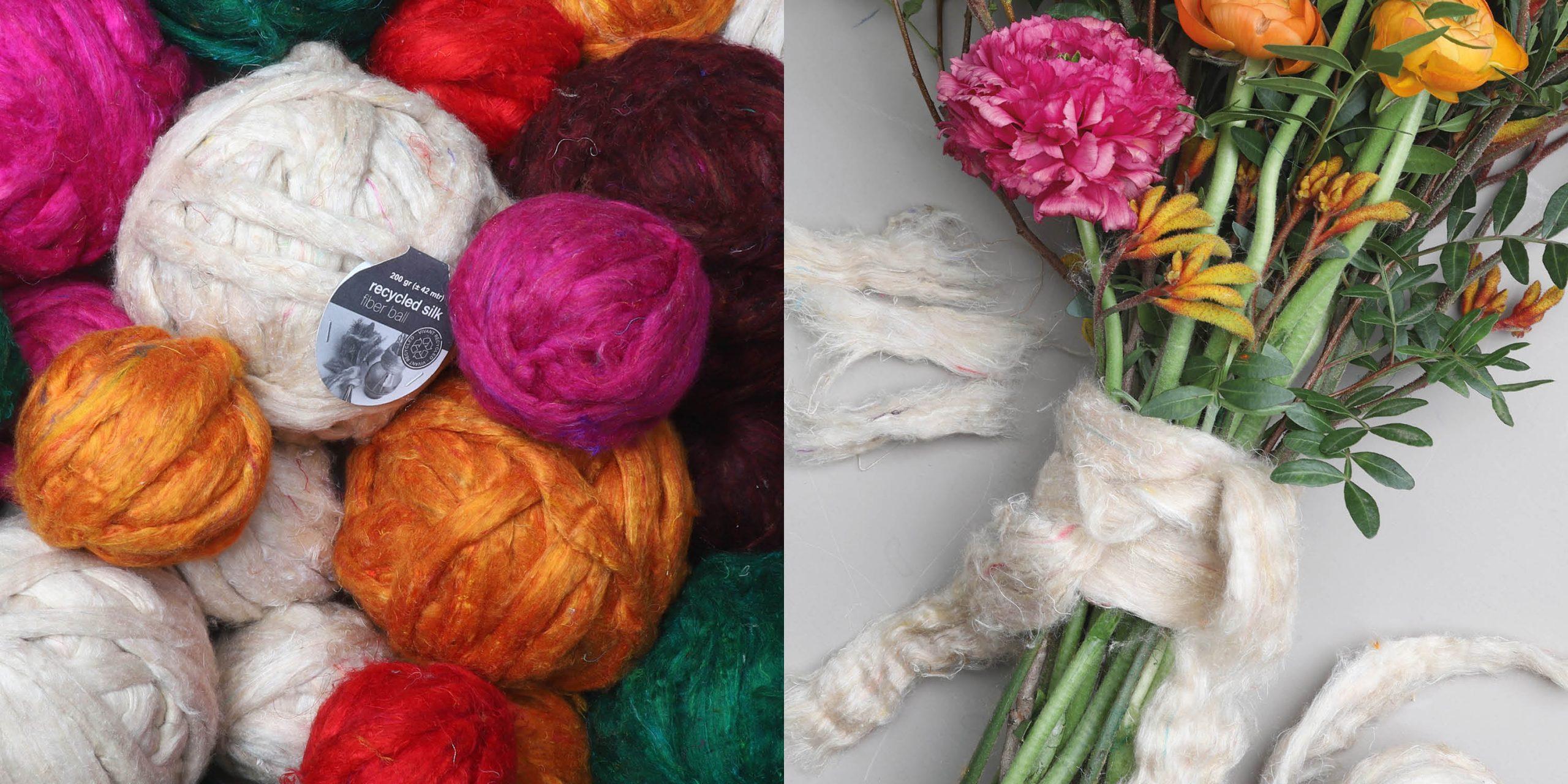 DIY recycled silk fiber balls