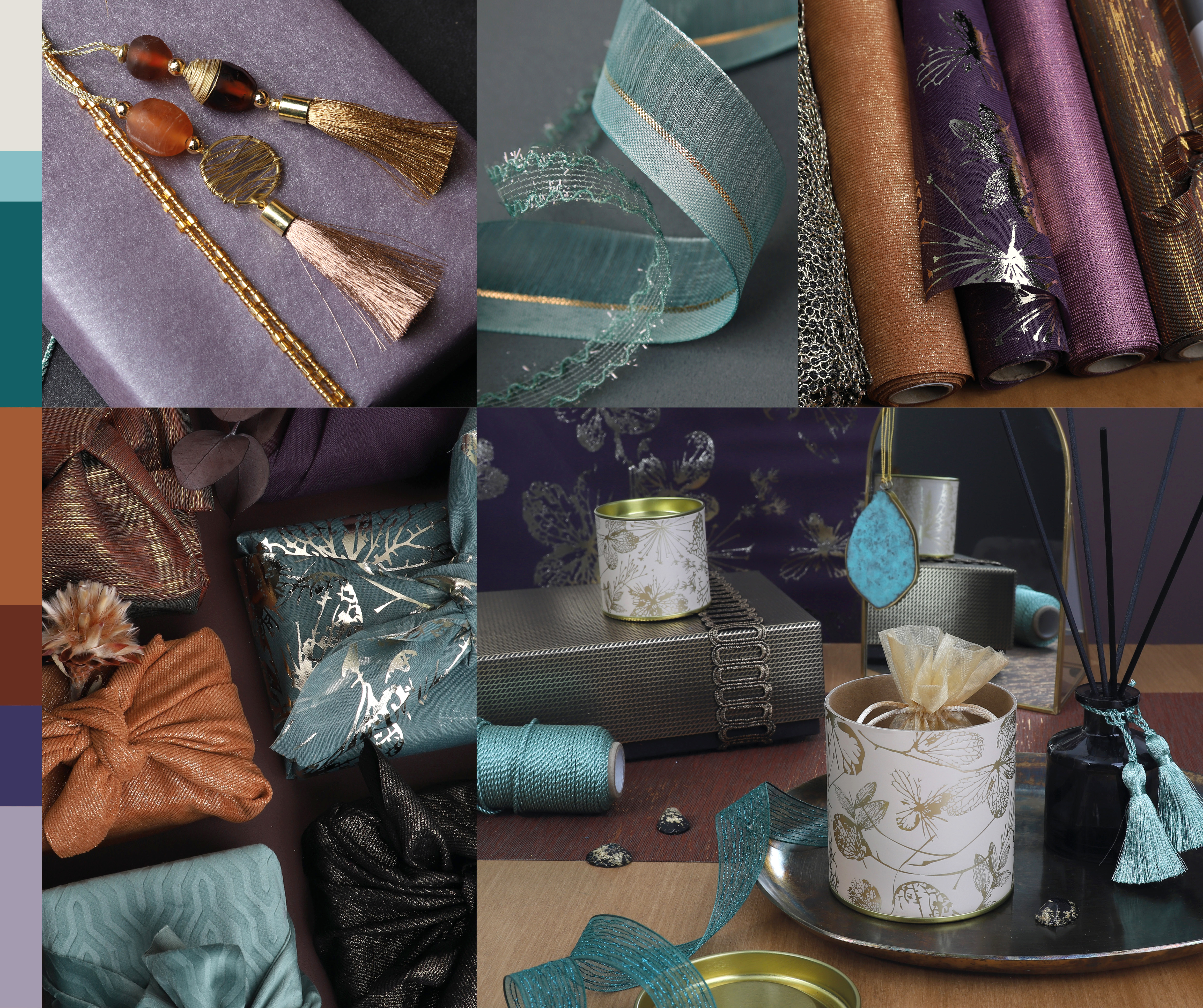 Mystic mood moodboard with table runners ornaments and ribbons