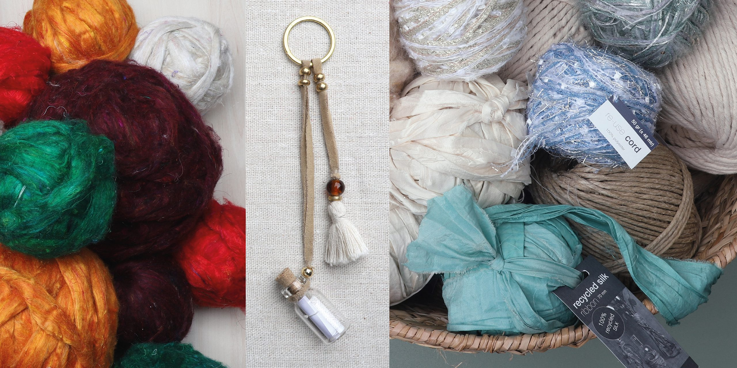 Recycled silk fiber balls, Wish bottle and Re-use cord